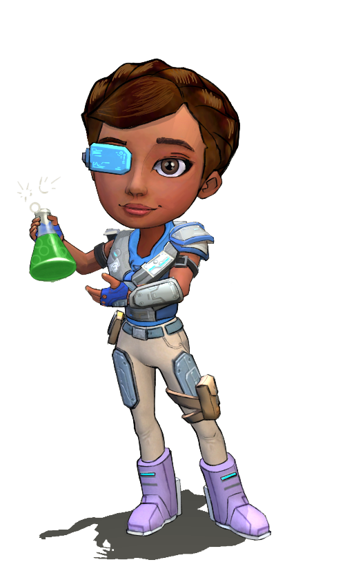 African American female teen wearing augmented reality glasses (AR glasses) and full battle armor showcasing an Erlenmeyer flask