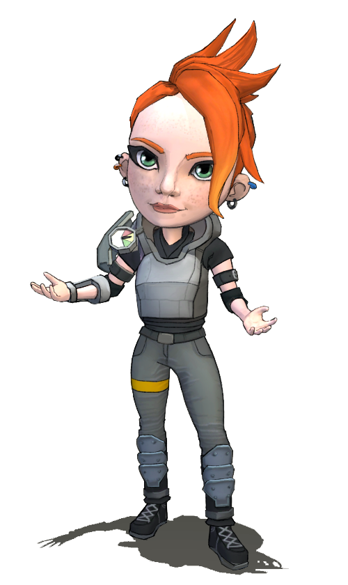 Outgoing redheaded military special forces agent in flak armor with pressure gauges, welcoming you to try Plasma Games' Sci-Ops: Global Defense